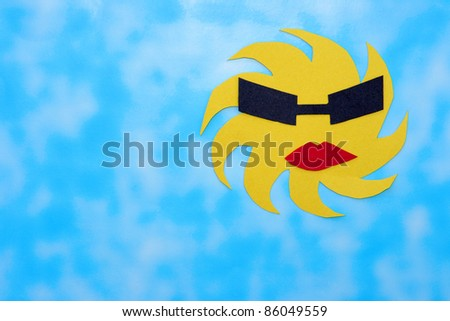 Abstract Sun Art With Shades on Blue Sky Background