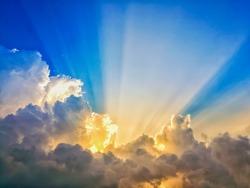 abstract sun beam line light shining through the clouds, Sunbeam through the clouds haze on Beautiful sky