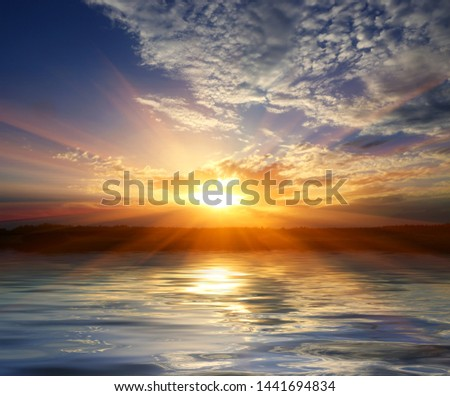 abstract sunset over water surface #1441694834