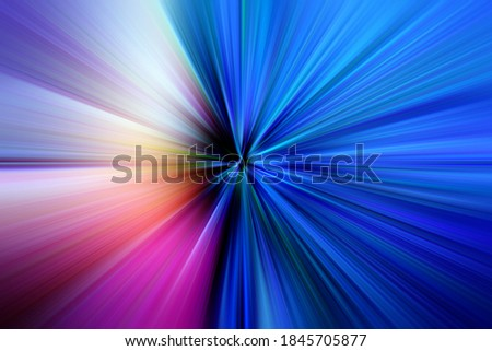 Abstract surface of radial blur zoom   in blue, pink tones. Bright colorful background with radial, diverging, converging lines.