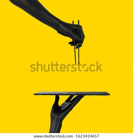 Abstract sushi bar concept background. Black hands using chopsticks and sushi dish isolated on yellow, 3d illustration.