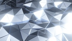 Abstract sylver polygonal surface in loop 3d animation. Beautiful motion design backdrop in 4k. Low-poly render