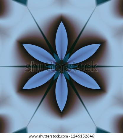 Abstract symmetrical ornament in gray, light gray-blue, gray-blue, blue-green and other shades.