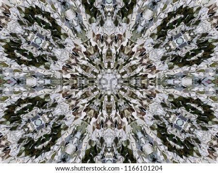 Abstract symmetrical ornamental pattern of modified spread image of white flowers Alyssum. Symmetrical ornamental fancy pattern in the natural colors of the flowers Alyssum.