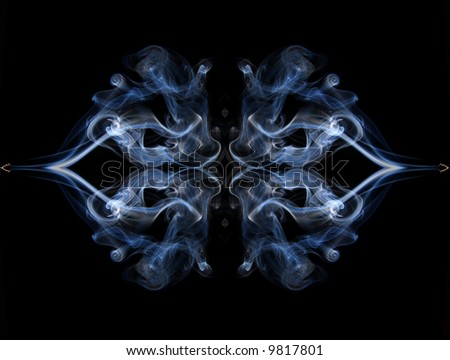 Abstract symmetry: Blue smoke on a black background - stock photo
