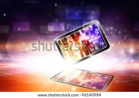 Abstract tablet PC on bright light background