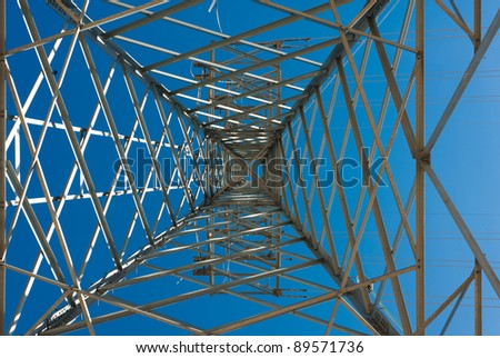 Abstract take from underneath a huge high tension electricity pylon.
