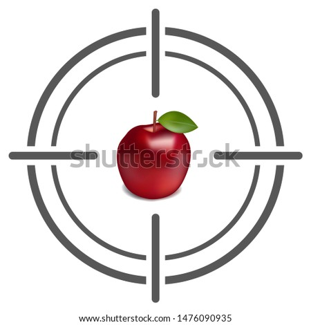 Abstract target icon with apple. Target icon Image. Flat target icon. Target icon goal illustration
