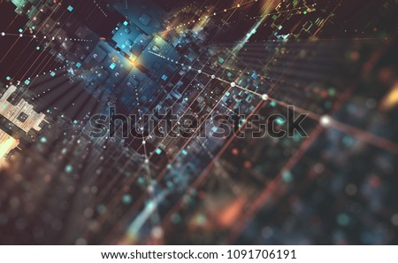 Abstract tech background 3D illustration. Quantum computer architecture. Fantastic night city. Futuristic technologies in global communication network