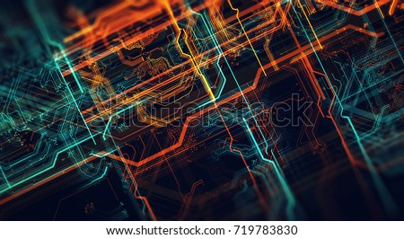 Abstract technological background made of different element printed circuit board and flares. Depth of field effect.