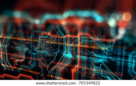 Abstract technological background made of different element printed circuit board. Depth of field effect and bokeh. 3d render/Printed circuit board in the server  executes the data
