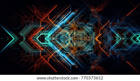 Abstract technological background made of different element printed circuit board. Depth of field effect and bokeh can be used as digital dynamic wallpaper. 3d Rendering/Printed circuit board