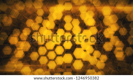Abstract technological background of glowing hexagons. High-quality 3D illustration for financial, banking, web technologies or social background.