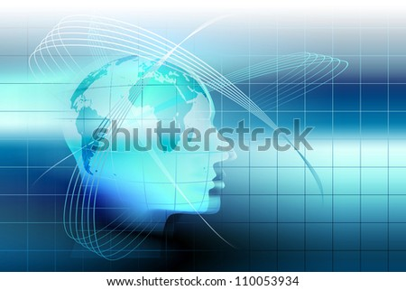 abstract technology background with a human head