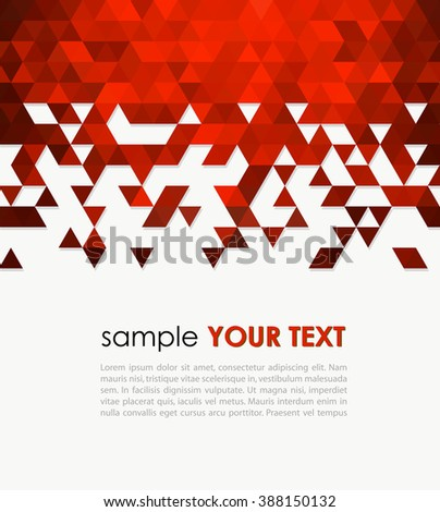 Abstract technology background  with triangle. Abstract background with color triangles mosaic. Template background for flyer, website, brochure design. Red triangle