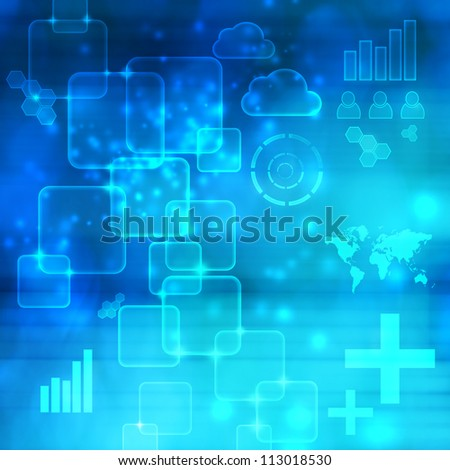 Abstract Technology Blue Shiny Background with Glares