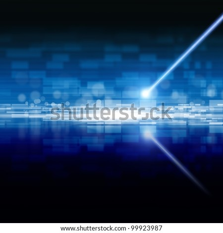Abstract techological background - laser beam, information on optical disk - stock photo