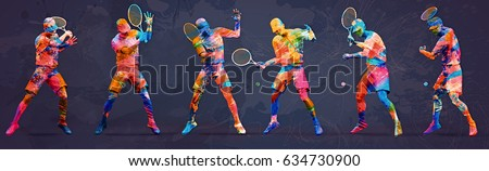 Abstract tennis player; 3d illustration