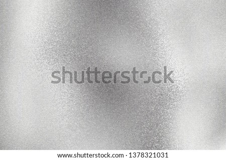 Abstract texture background, shiny silver foil wave metal wall #1378321031