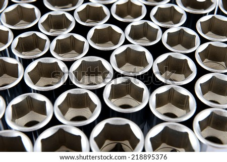Abstract texture of deep socket wrench tools