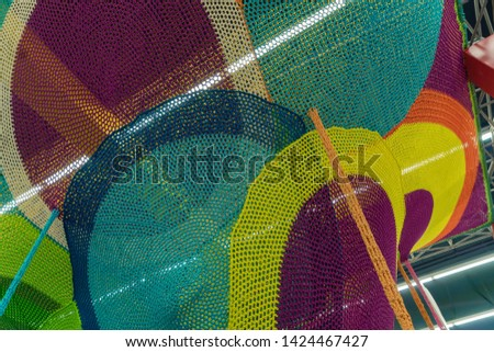 Abstract texture of multi-colored woven fabrics. Creative vintage background #1424467427