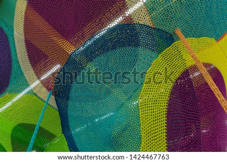 Abstract texture of multi-colored woven fabrics. Creative vintage background #1424467763