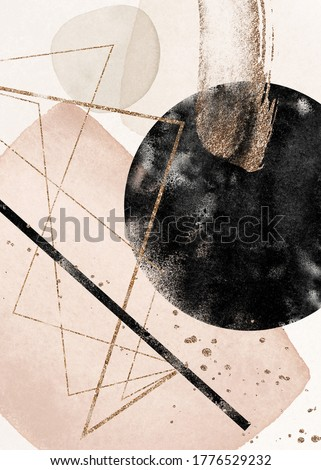 Abstract Texture Poster. Terracotta, blush, pink, ivory, beige, black watercolor Illustration and gold elements. Modern print set. Logo. Wall art. Business card. Wallpaper. Golden. splashes.