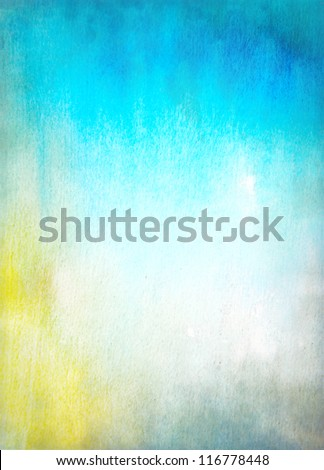 Abstract textured background: blue and yellow patterns. For art texture, grunge design, and vintage paper / border frame