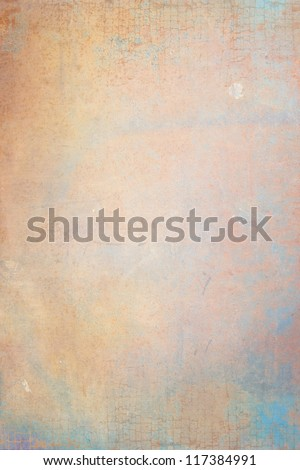 Abstract textured background: blue, brown, and yellow patterns. For art texture, grunge design, and vintage paper / border frame