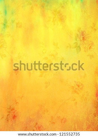 Abstract textured background: red and green floral patterns on yellow backdrop. For art texture, grunge design, and vintage paper / border frame