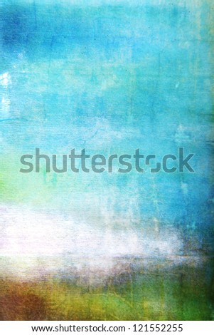 Abstract textured background: white, brown, and green patterns on blue sky-like backdrop. For art texture, grunge design, and vintage paper / border frame