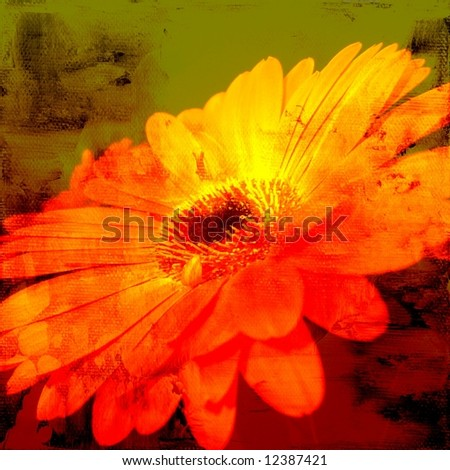 Abstract textured grunge background with flower. Art and content is created and painted by photographer