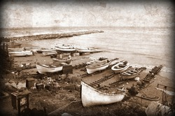 abstract textured image of a old boats- artistic retro style picture