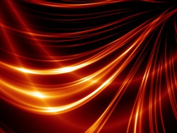 Abstract thin red lines on a black background