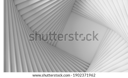 Abstract three-dimensional white light texture of a set of straight square steps spiraling. 3D illustration Photo stock ©