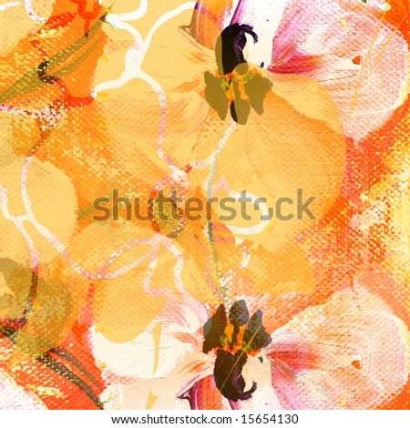 Abstract tillable floral mixed media design with painted elements of orchid flowers on apricot colored background