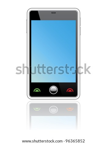 Abstract  touchscreen smart phone.Isolated on white - stock photo