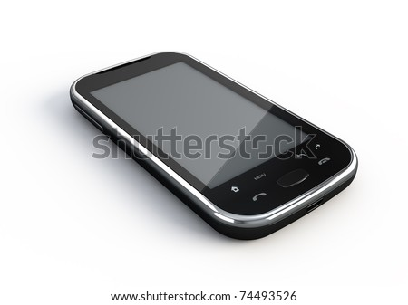 Abstract touchscreen smartphone - 3d render