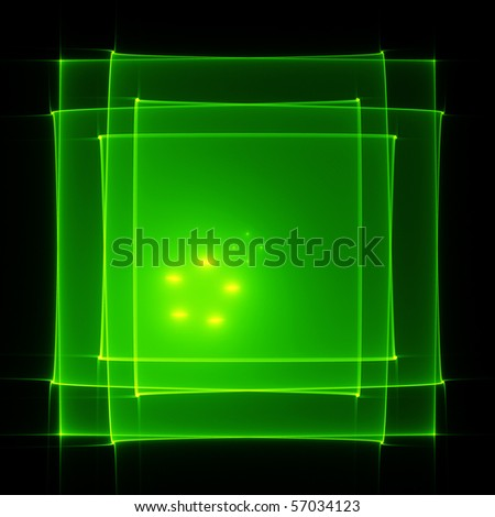 Abstract translucent green squares on black
