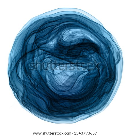 Abstract transparent liquid fluid, smoke  swirl flowing in circle shape with blue and green colors isolated on white backgrounds.