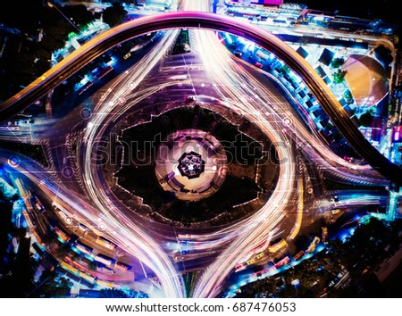 Abstract transportation technology concept, smart city, Internet of things, vehicle to vehicle, vehicle to infrastructure, abstract image visual, mixed media #687476053