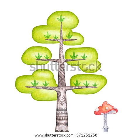 abstract tree clip art, watercolor magic forest illustration, unusual nature design elements isolated on white background
