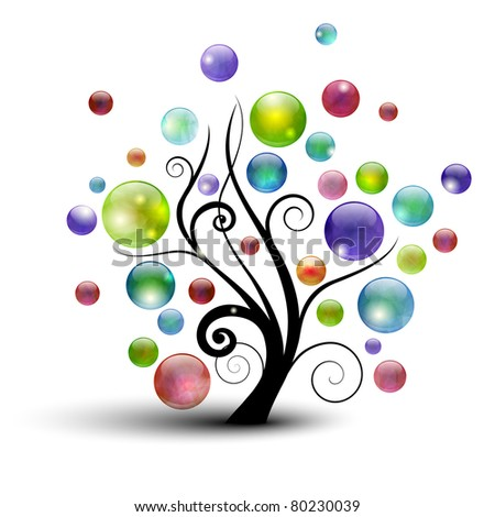 Abstract tree silhouette with colorful bubbles