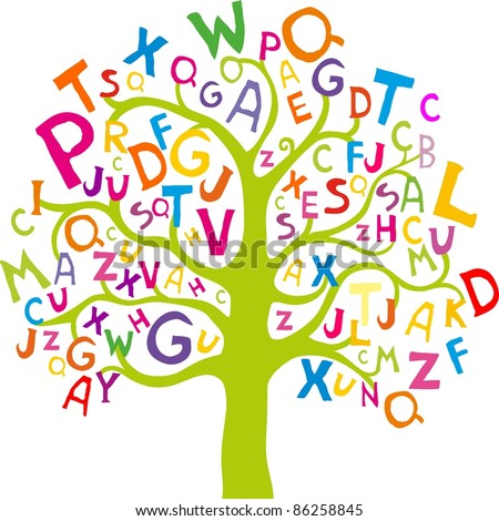 Abstract tree with colorful letters isolated on White background.