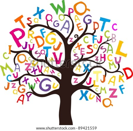 Abstract tree with colorful letters isolated on White background. illustration