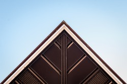 Abstract triangle angled corner of building structure. Abstract color and design. Architectural  detail and design. Isolated architecture detail. Abstract architecture detail Minimal design and art.