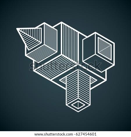 Abstract trigonometric construction, dimensional design template.