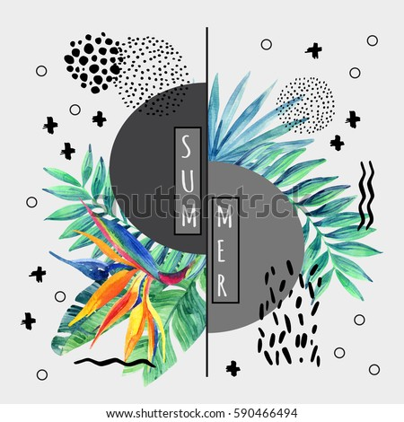 Abstract tropical summer poster design in minimal style. Watercolor exotic flowers, palm leaves, grunge textures, doodles. Water color background with 80s or 90s elements. Hand painted illustration