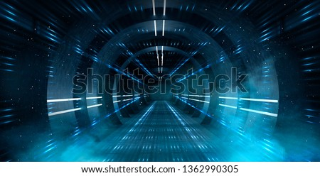 Abstract tunnel, corridor with rays of light and new highlights. Abstract blue background, neon. Scene with rays and lines, Round arch, light in motion, night view. 3D illustration.