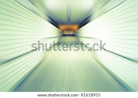 Abstract tunnel in the subway station in motion